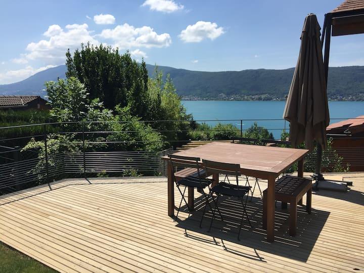 Studio neuf prive, design avec vue lac et jardin