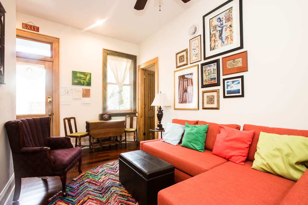 Cozy, comfortable suite eclectically decorated with bright colors and art from around New Orleans.