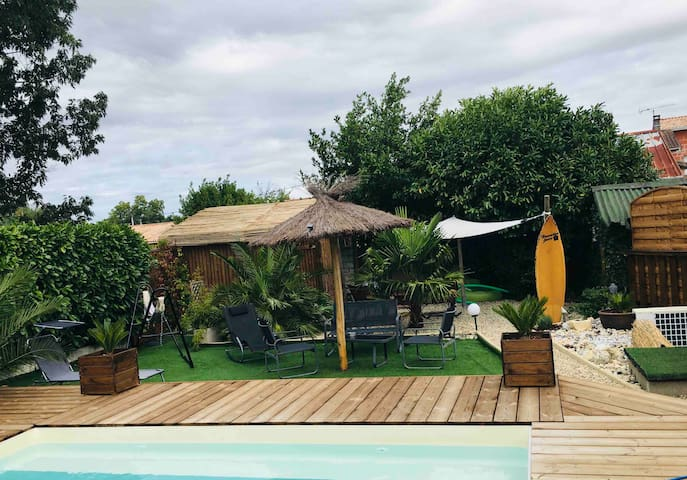 T2 aux portes des vignobles avec piscine et jardin