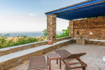 Charming Village Cottage Aegean views from terrace