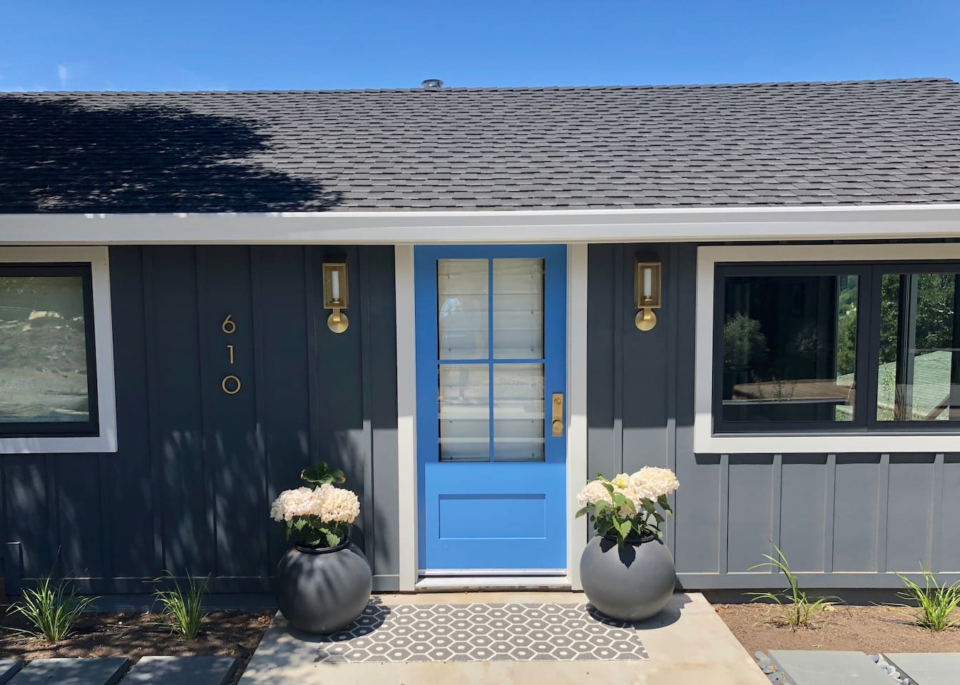 Front entry to our idyllic Lavender Cottage in majestic Marin