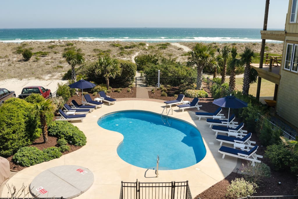 Pool area with private beach access.  Pool can be heated & chilled during certain times of the year.