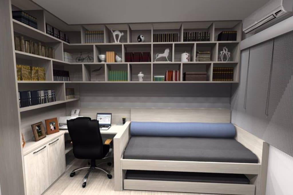 Quarto cama de solteiro/escritório