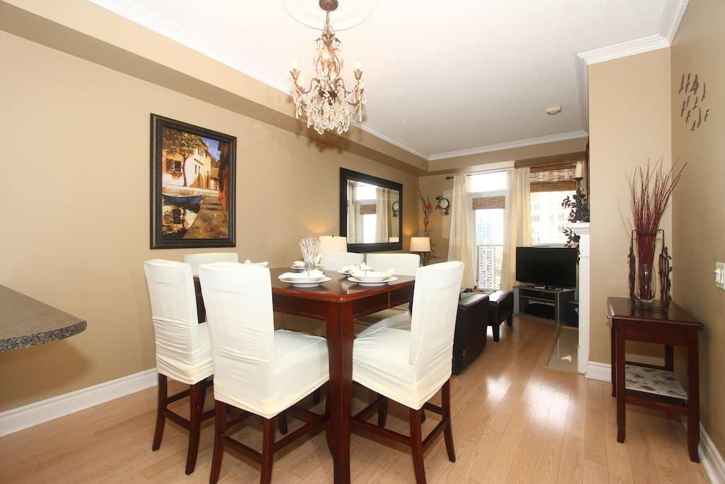 Open concept dining with pub chairs
