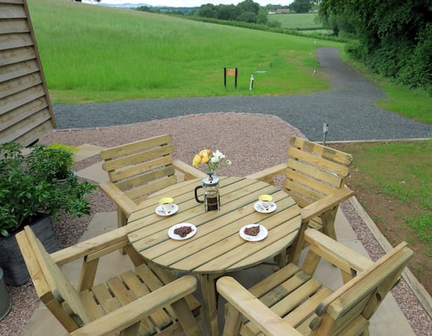 Al fresco dining with views to the Malvern Hills.