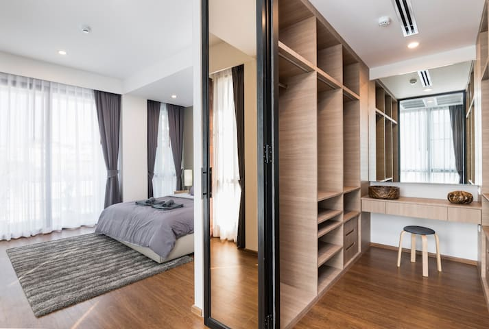 The Master bedroom has its own closet room.