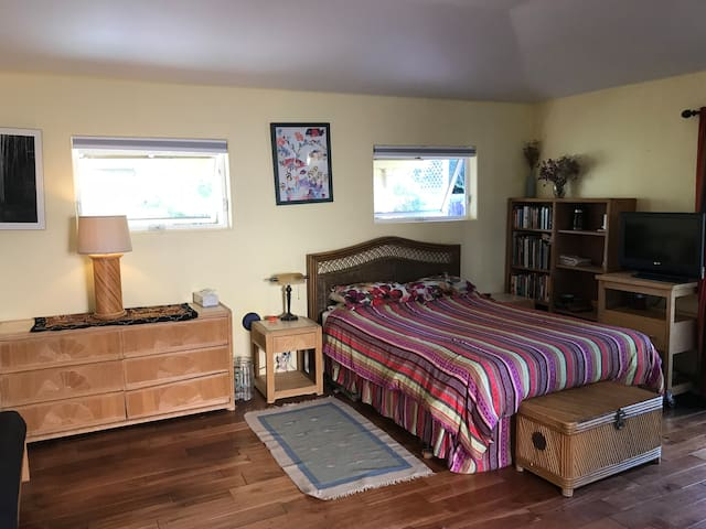 Queen size bed in spacious comfy room with couch, dresser and closet