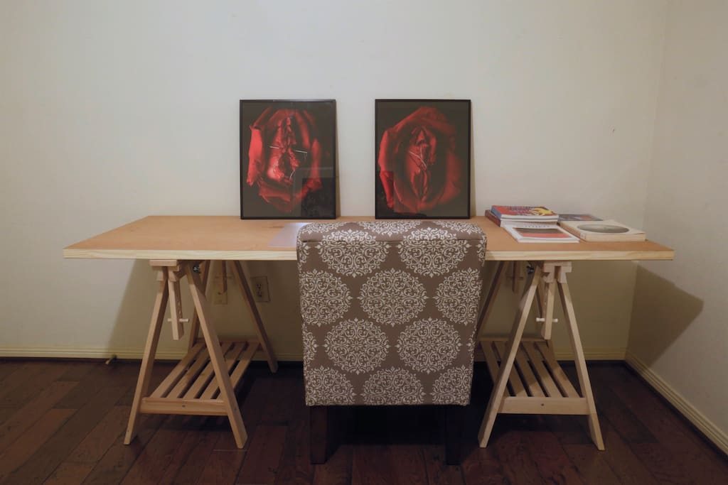 Desk area! and some other art books. Chromogenic prints by. Artist Tere G.