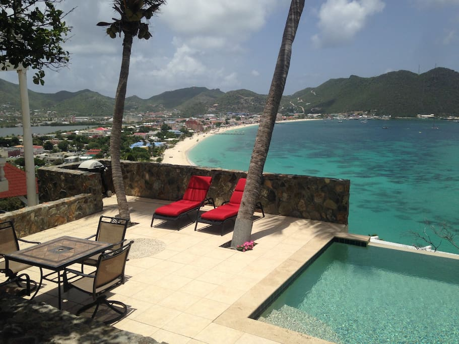 On the pool deck overlooking Great Bay and Philipsburg