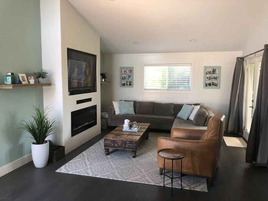 Living room with large 4K TV