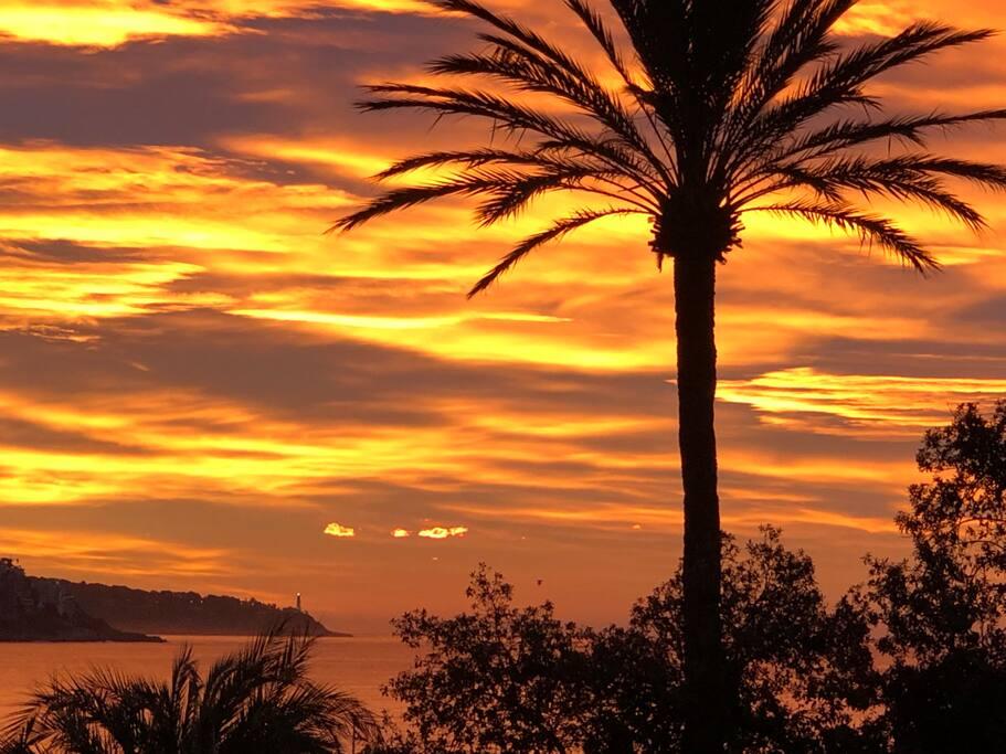 Le levé de soleil au bord de la Mer