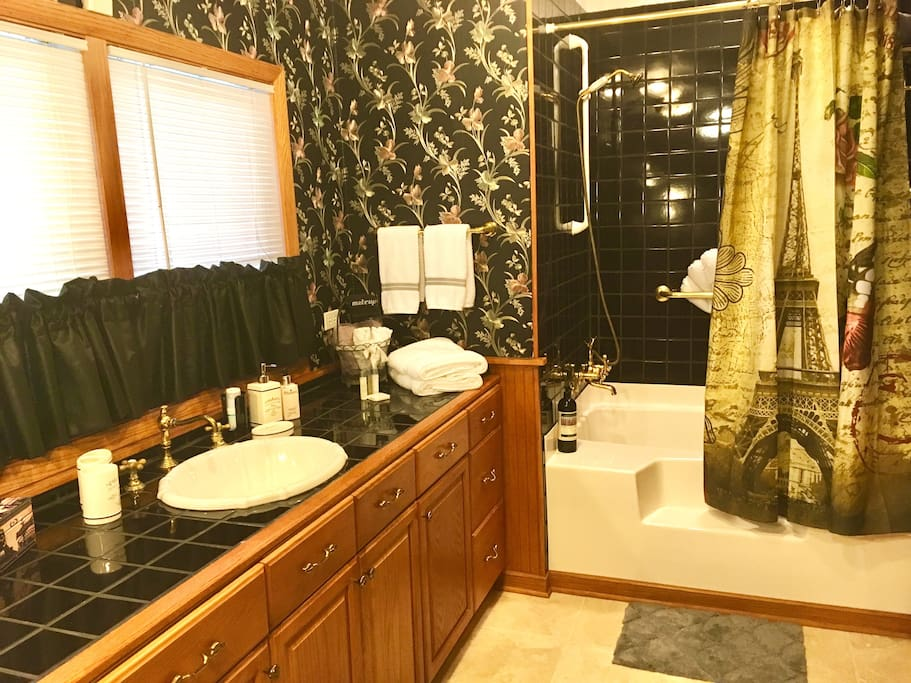 Your bathroom with shower and soaking tub