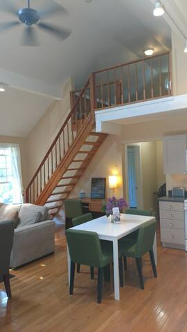 Desk/workspace, Wi-Fi, gleaming hardwoods & stairs up to the loft bedroom.
