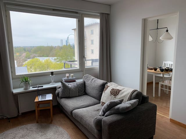 A bright room in a top floor apartment in Kallio
