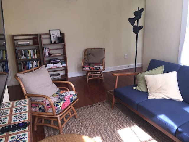 Living room with fold-out sofa, books, games, flat screen tv, ceiling fan