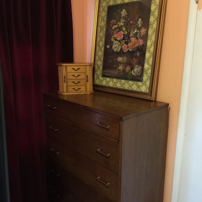 Full dresser for you to use.  The room also has a closet that will fit an international suitcase.