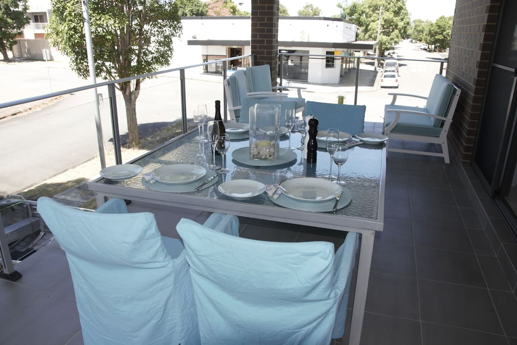 Large 8 x 3m deck with 1.5x1.5m table, modern lounge, bbq with plumbed in gas (no need for gas bottles), tap, electrical point, lighting