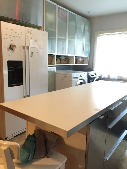 Kitchen island and cupboards and IKEA fridge with filtered water. Washer and dryer.