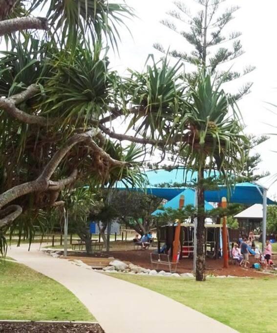 Peregian Beach Park across from the village