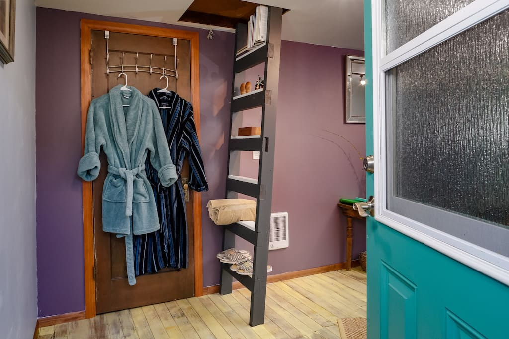 Robes, towels, sandals for your use.