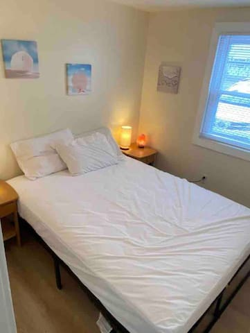 Bedroom w/queen-sized bed, Himalayan salt rock lights, beach decor, cozy decor & ambiance lighting. Full length mirror, AC & portable fan in bedroom.