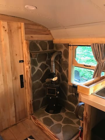 Cozy wood stove for cold nights.