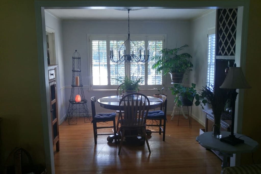 Dining room with lots of light overlooking the backyard.