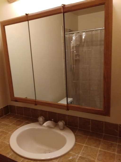 Shower with plenty of cabinet space.. Towels provided and will also shop for special requests..