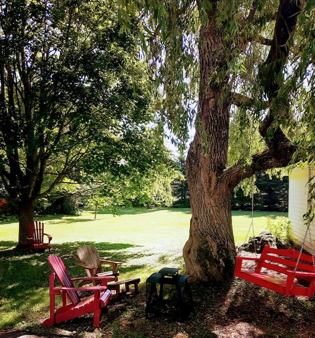 The Weeping Willow. Enjoy out door seating in the spacious green space.