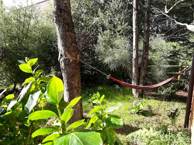 lindo jardin con hamaca