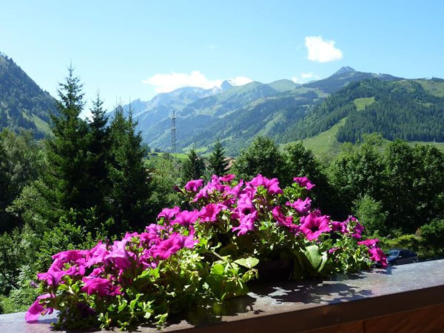 View towards the Großglockner from the Edelweiss Apartment balcony