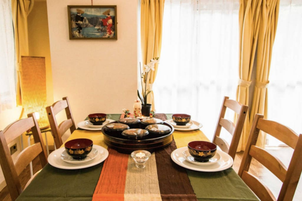 Enjoy your meals together on our wooden dining table.