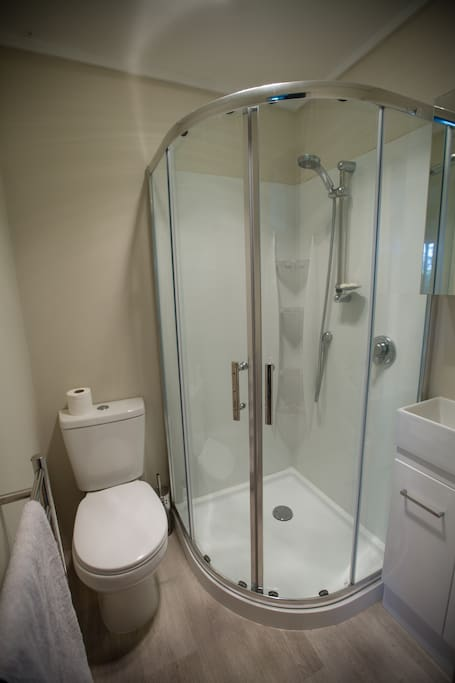 Compact and clean bathroom