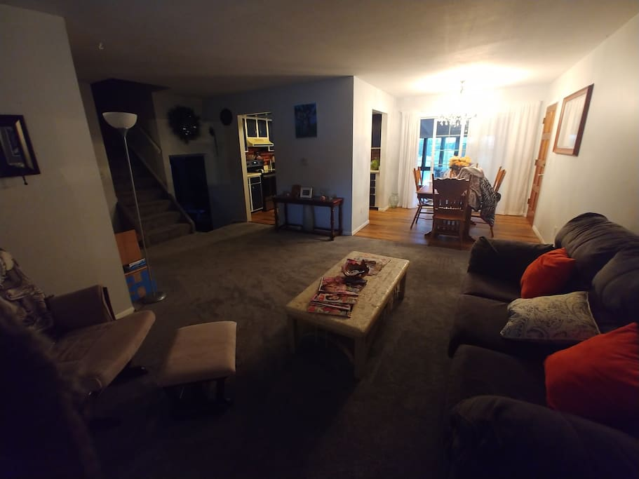 Main living room - kitchen on left, dining room