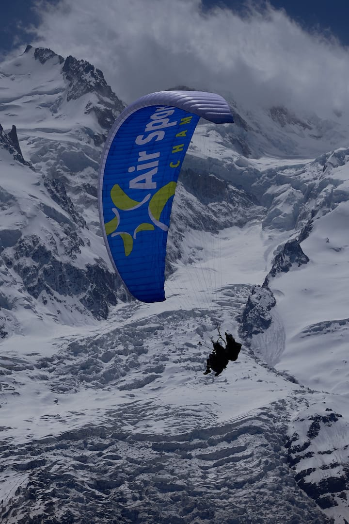 flying in front of Mt Blanc