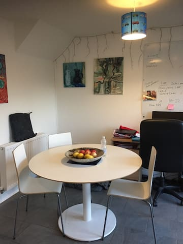 dining area in kitchen and office desk