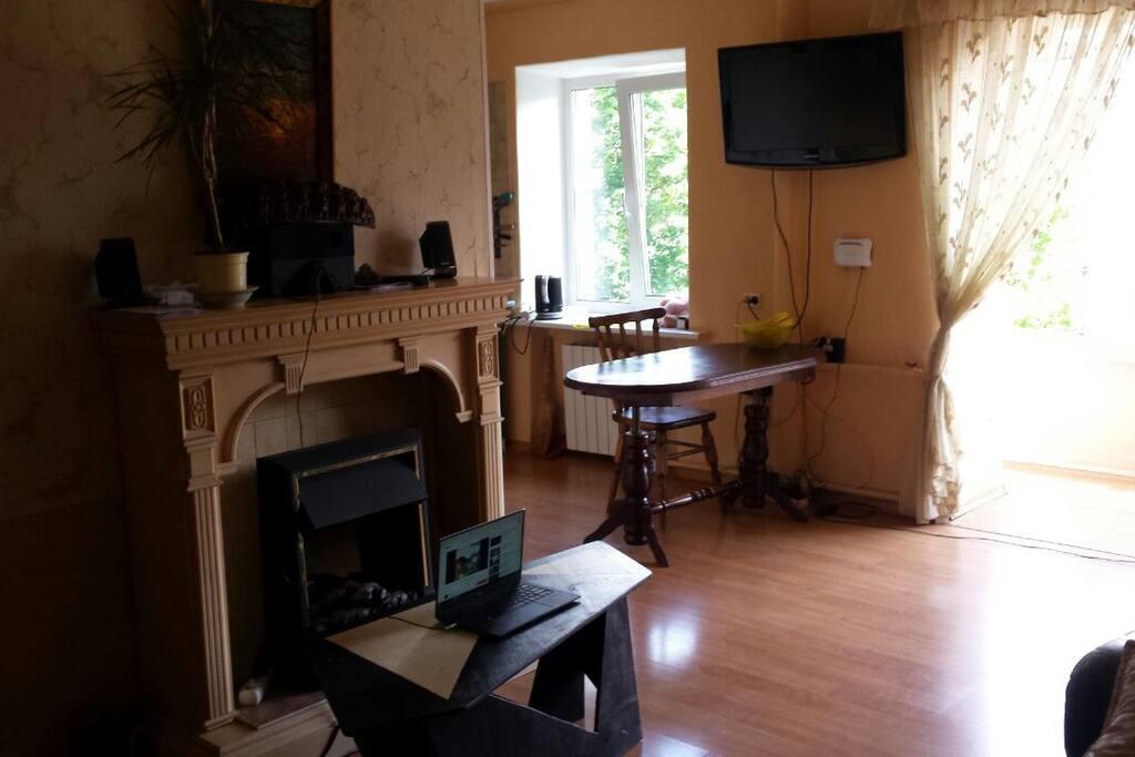 Living room for 2 person (general room) + Kitchen / Вітальня на 2 особи (загальна кімната) +Кухня