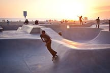 Venice skatepark is just a few min walk away