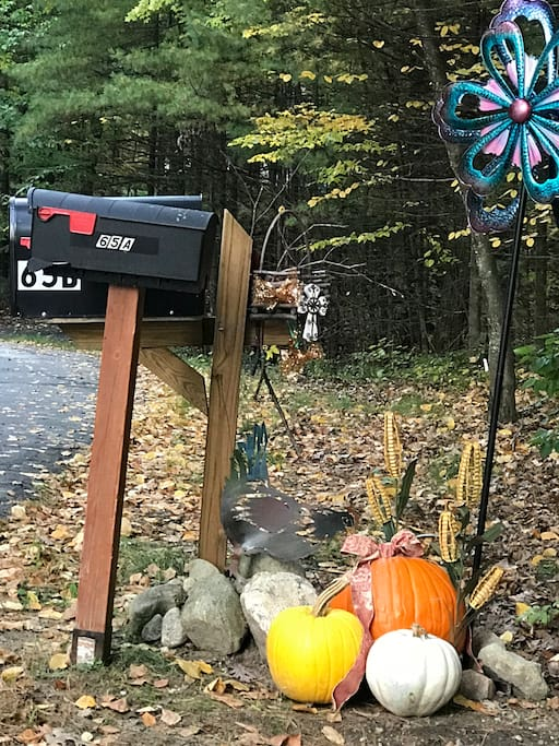 At mailboxes; take driveway to Log Home on the left