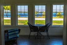 Dining area with great views of the lake and sky.