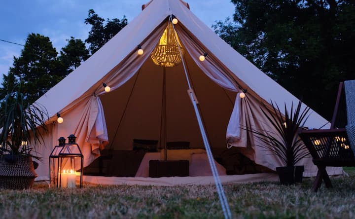 Anella Boutique Camping Bell Tent Hire N Cornwall Tents For Rent In Cornwall England United Kingdom