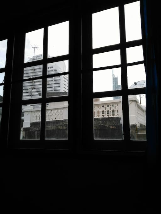 A view from the room, seeing Shangrila Bangkok hotel