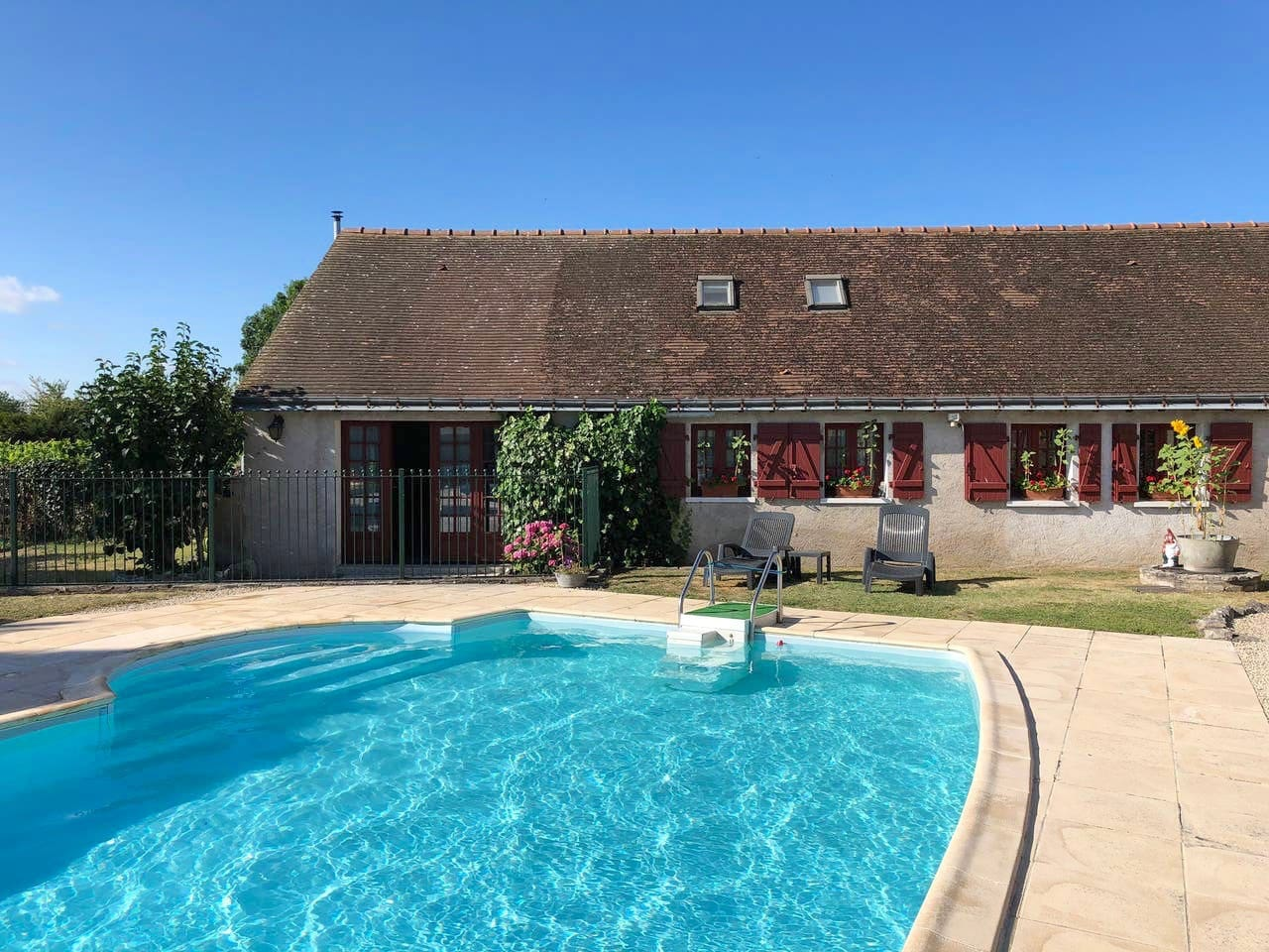 Gite attached to the owners house , often sole use of pool for the gite, check on enquiry.