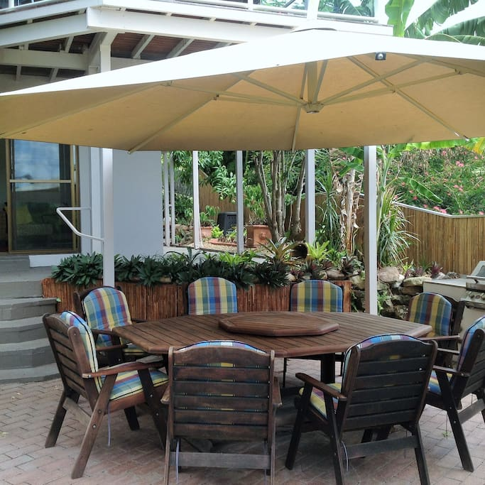 Outdoor entertainment with barbecue