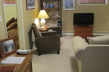 Family room. TV includes DVD player and lots of movies