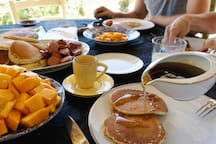 Organic breakfast - do you prefer pancakes Canadian style or piles of local mango?