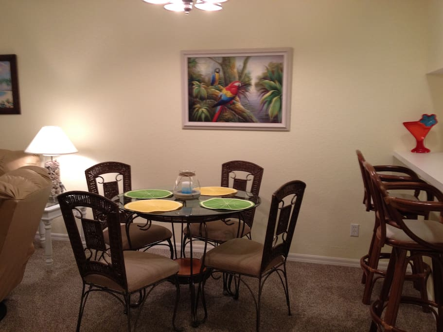 dining area and breakfast bar