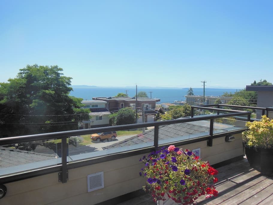 View of the Pacific ocean from roof top deck
