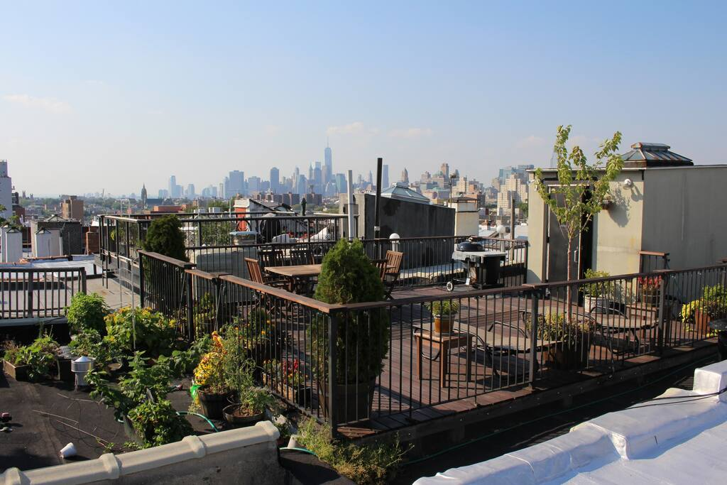 Roof deck with lounge chairs, dining chairs, charcoal grill, and unbeatable views!