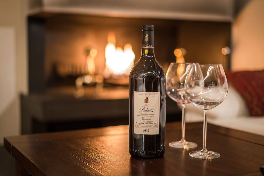 Cozy nights by the fire place with red wine, cheese and exotic music!